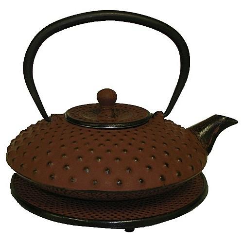Japanese Tetsubin Cast Iron Red Hobnail Teapot