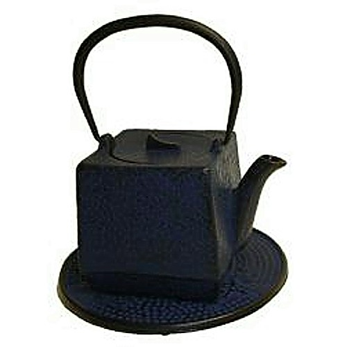 Japanese Tetsubin Cast Iron Blue Square Teapot