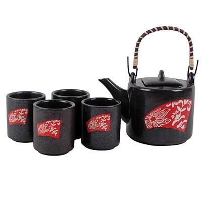 Art Deco Floral Modern Asian Teapot Set 5 Pieces 20 Ounces