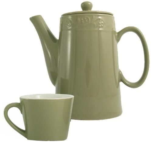15 Piece Green Ceramic Tea Set In Tin Gift Box