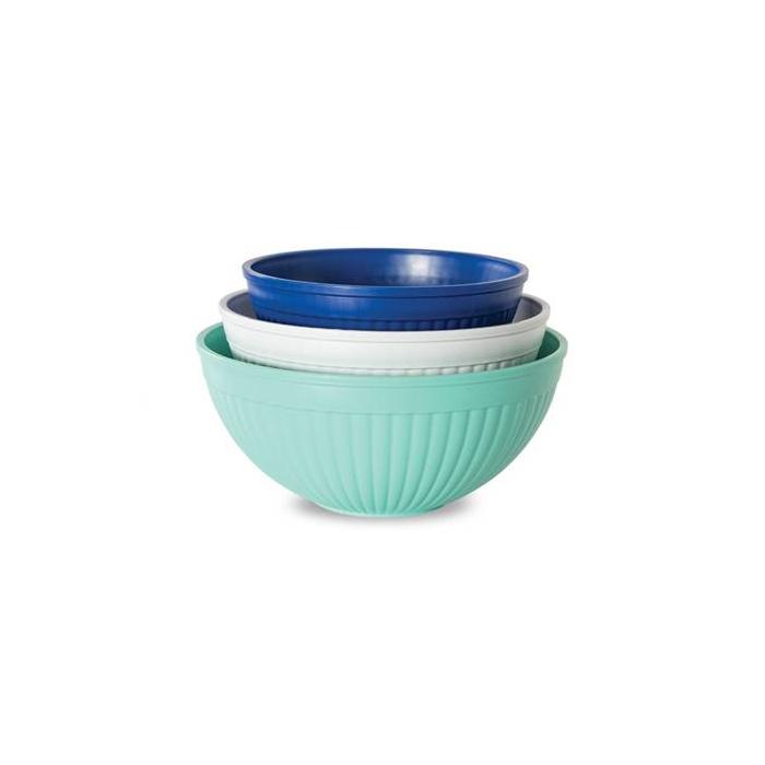 Nordic Ware Coastal Blue Microwave 3 Piece Prep and Serve Bowl Set