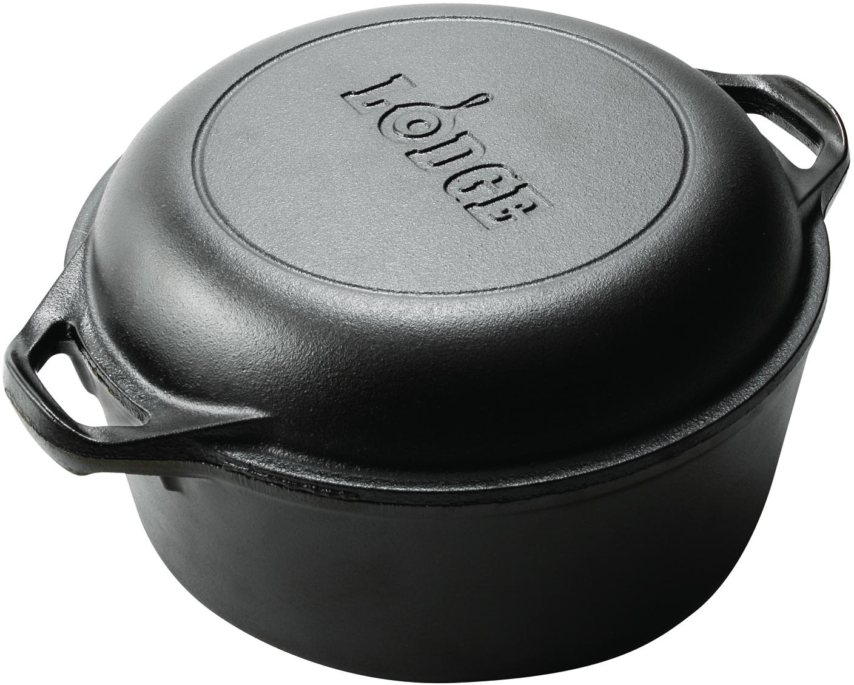 Lodge Logic Pre-Seasoned Cast Iron Double Dutch Oven, 5 Quart
