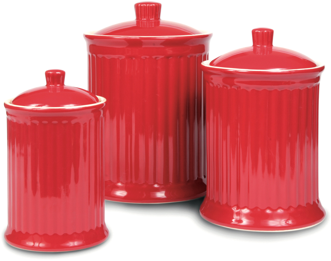 OmniWare Simsbury Red Stoneware Canister, Set of 3