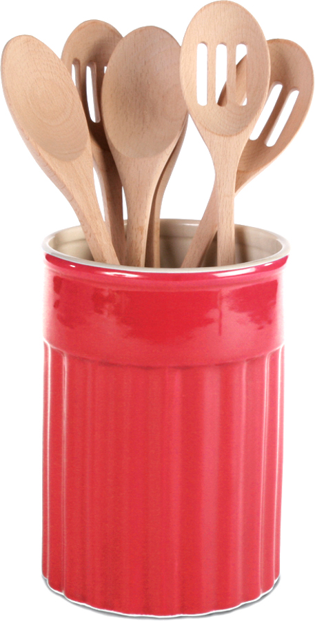 OmniWare Simsbury Red Stoneware Kitchen Utensil Crock