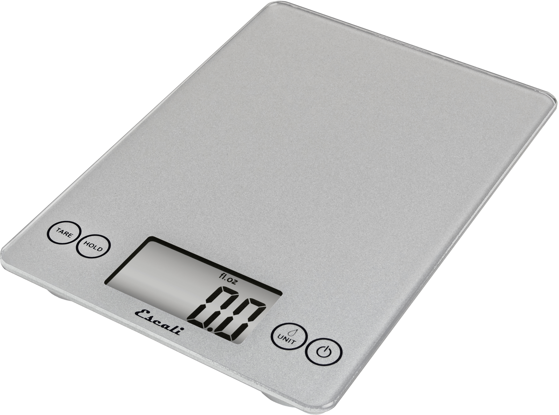 Escali Arti Shiny Silver Glass Digital Kitchen Scale, 15 Pound