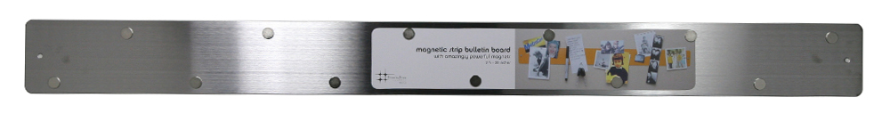 Three by Three Magnetic Strip Bulletin Board in Stainless Steel