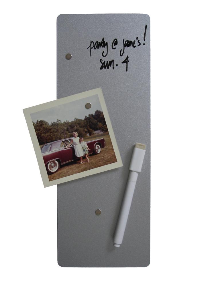 Three by Three 4x11 Dry-Erase Magnet Board in Silver
