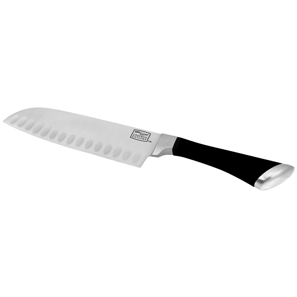 Chicago Cutlery Fusion High-Carbon Stainless Steel Santoku Knife with Comfort Grip Handle, 7 Inch