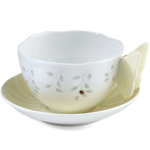 Lenox Butterfly Meadow Porcelain Figural Cup and Saucer Service for 1