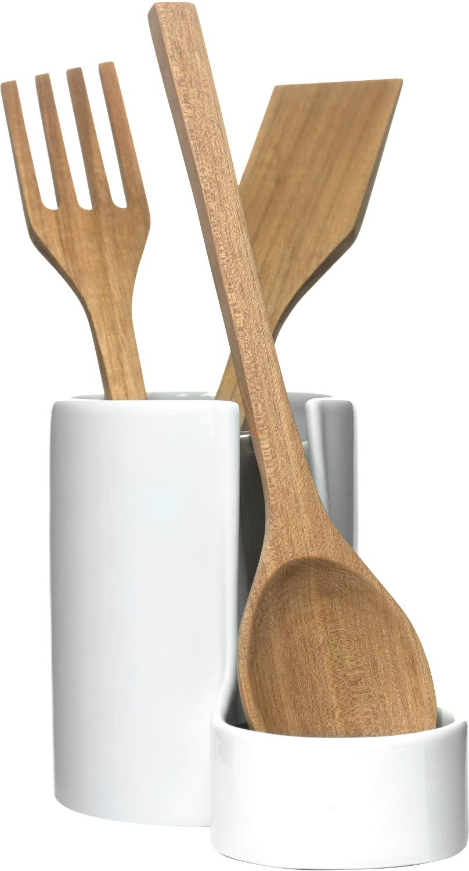 Sagaform White Stoneware Utensil Jar Wooden Utensils