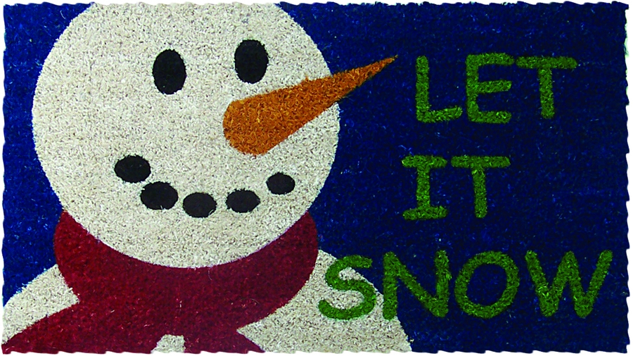 Holiday Let It Snow Mid-Thickness Hand Woven Coir Doormat, 18 x 30 Inch