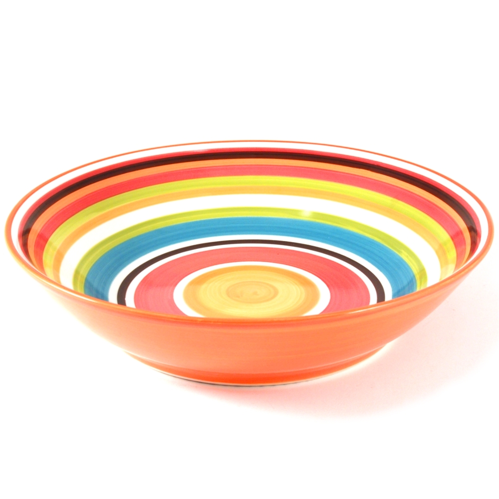 Omniware Multicolored Striped Serving Bowl, 14 Inch