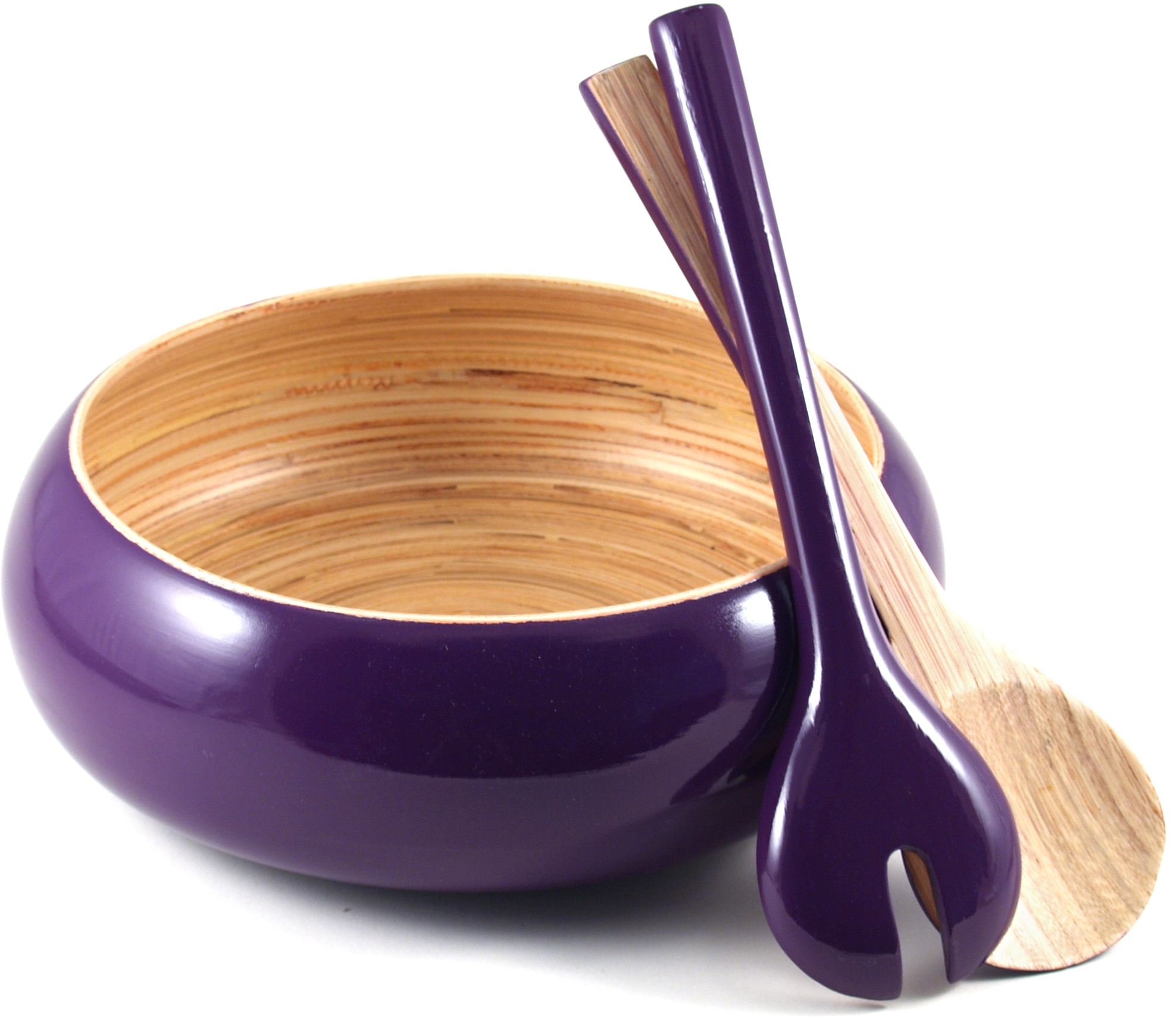 Core Bamboo Eggplant Shallow Bowl with Servers