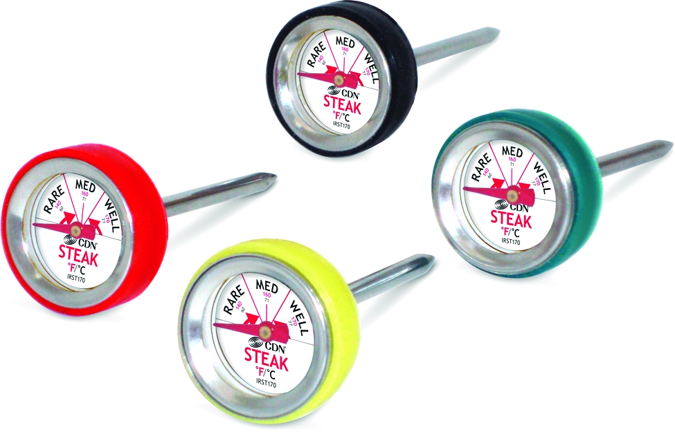 CDN Multicolored Stainless Steel Steak Thermometer, Set of 4