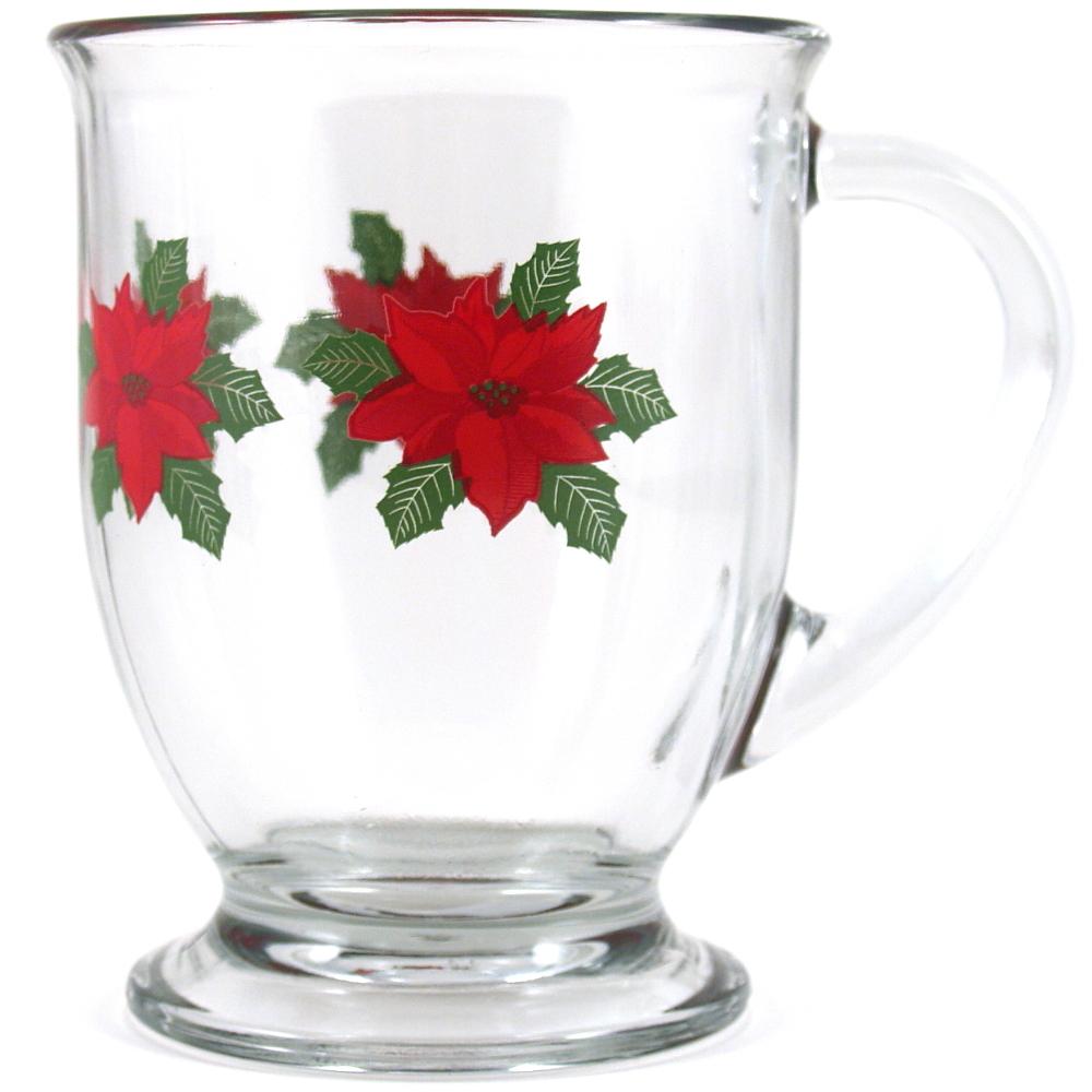 Anchor Hocking Holiday Poinsettia Glass Cafe Mug
