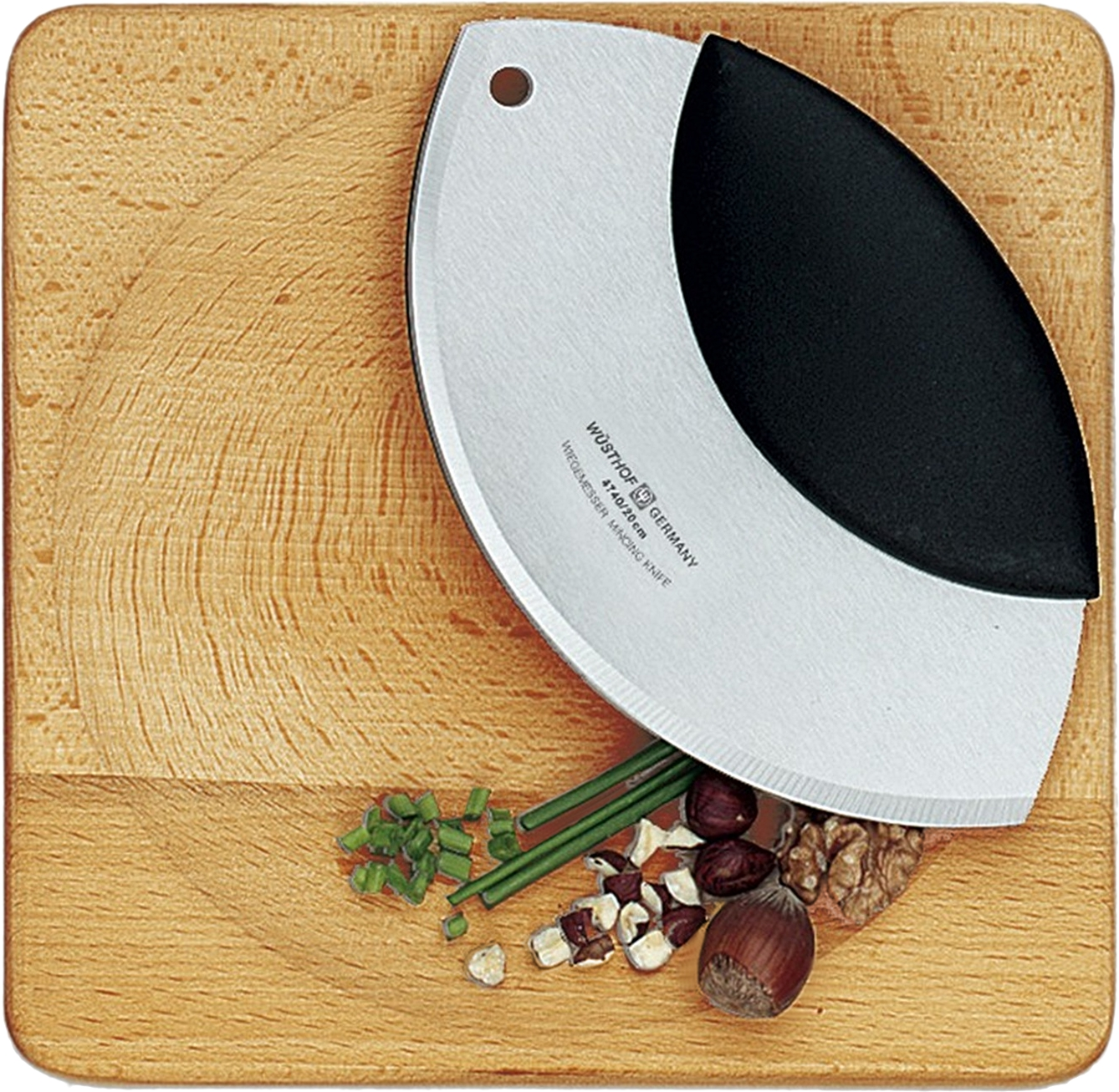 Wusthof 2 Piece High Carbon Stainless Steel Mezzaluna and Cutting Board Mincing Set