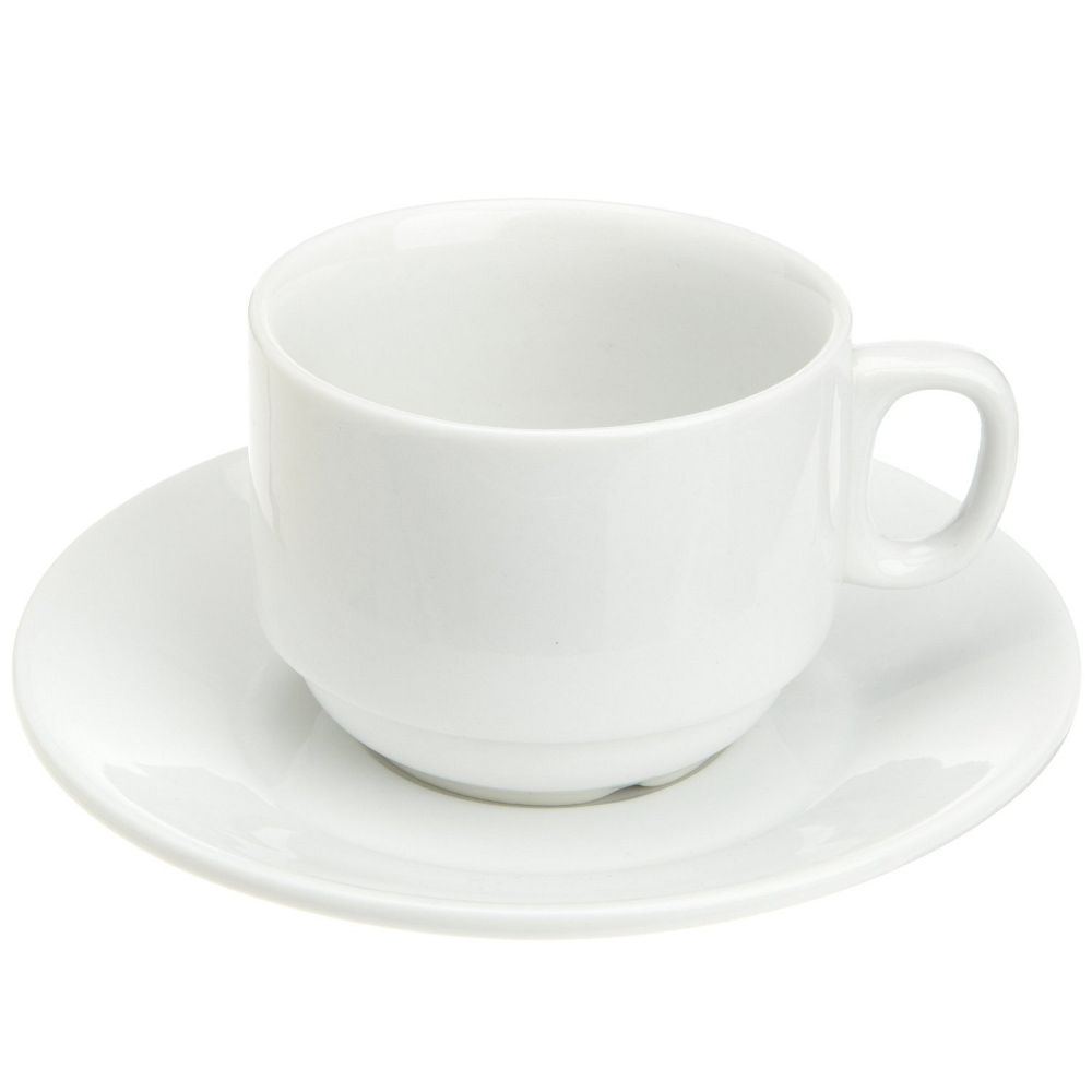 Kitchen Supply White Porcelain Cappuccino Cup and Saucer, 6 Ounce