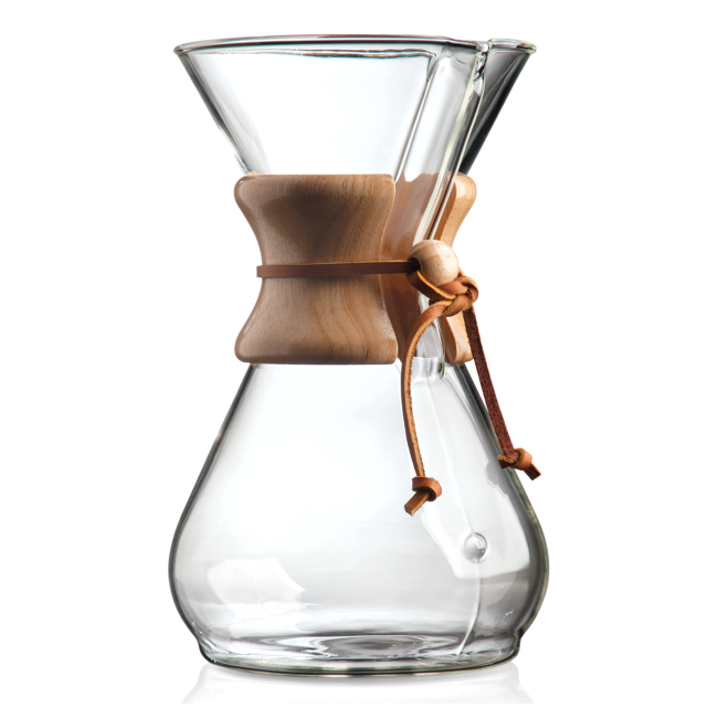 Chemex 8 Cup Classic Glass Coffee Maker with Wood Collar and Tie, 40 Ounce