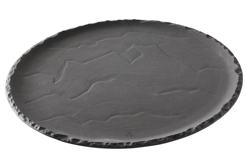 Revol Basalt Collection Black Porcelain 12 Inch Round Serving Plate