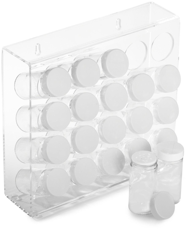 Prodyne Mountable Acrylic Spice Rack with 20 Glass Bottles