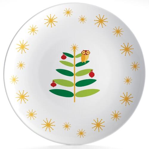 Rachael Ray Stoneware Holiday Hoot Round Serving Platter, 14 Inch