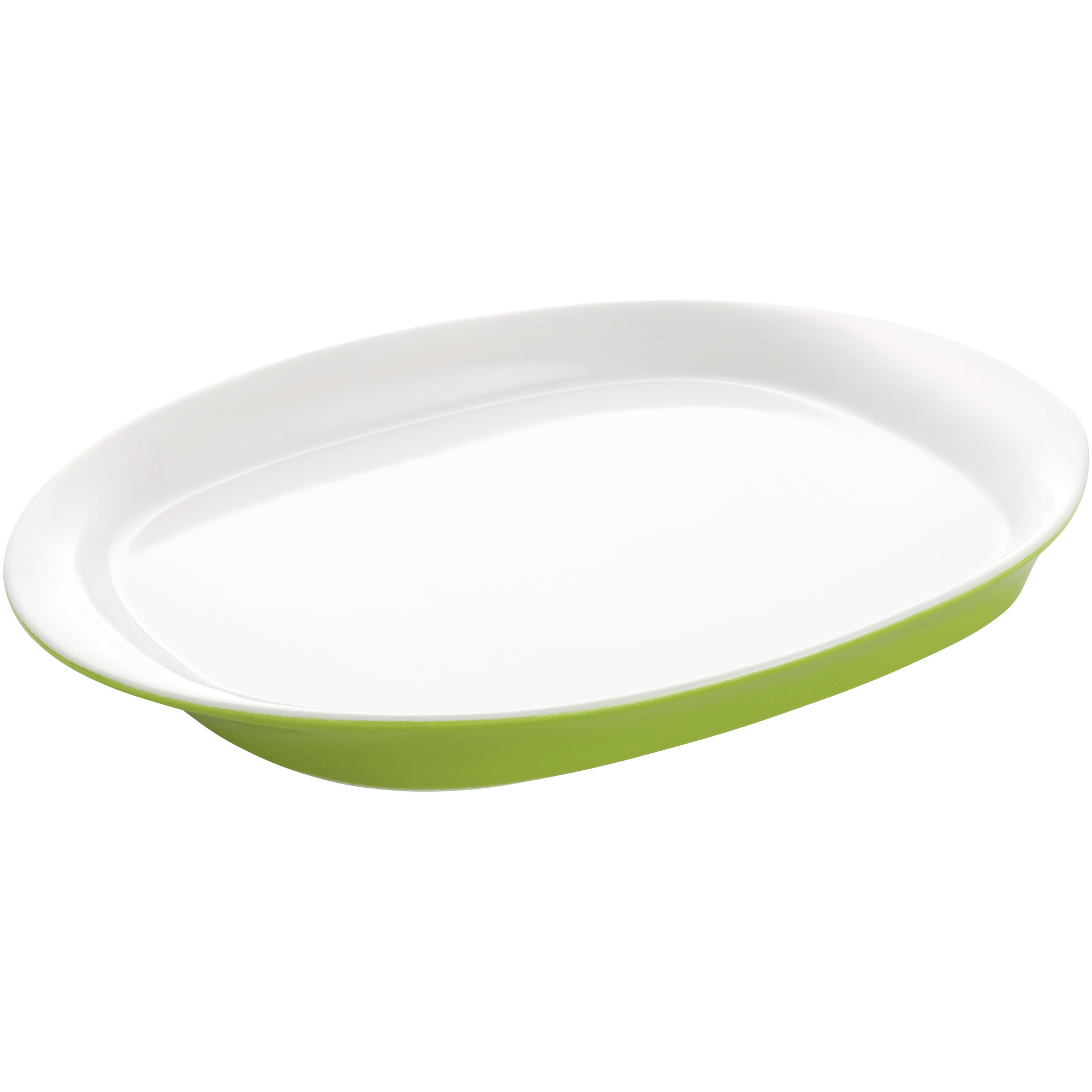 Rachael Ray Round and Square Collection Green Oval Serving Platter, 14 Inch