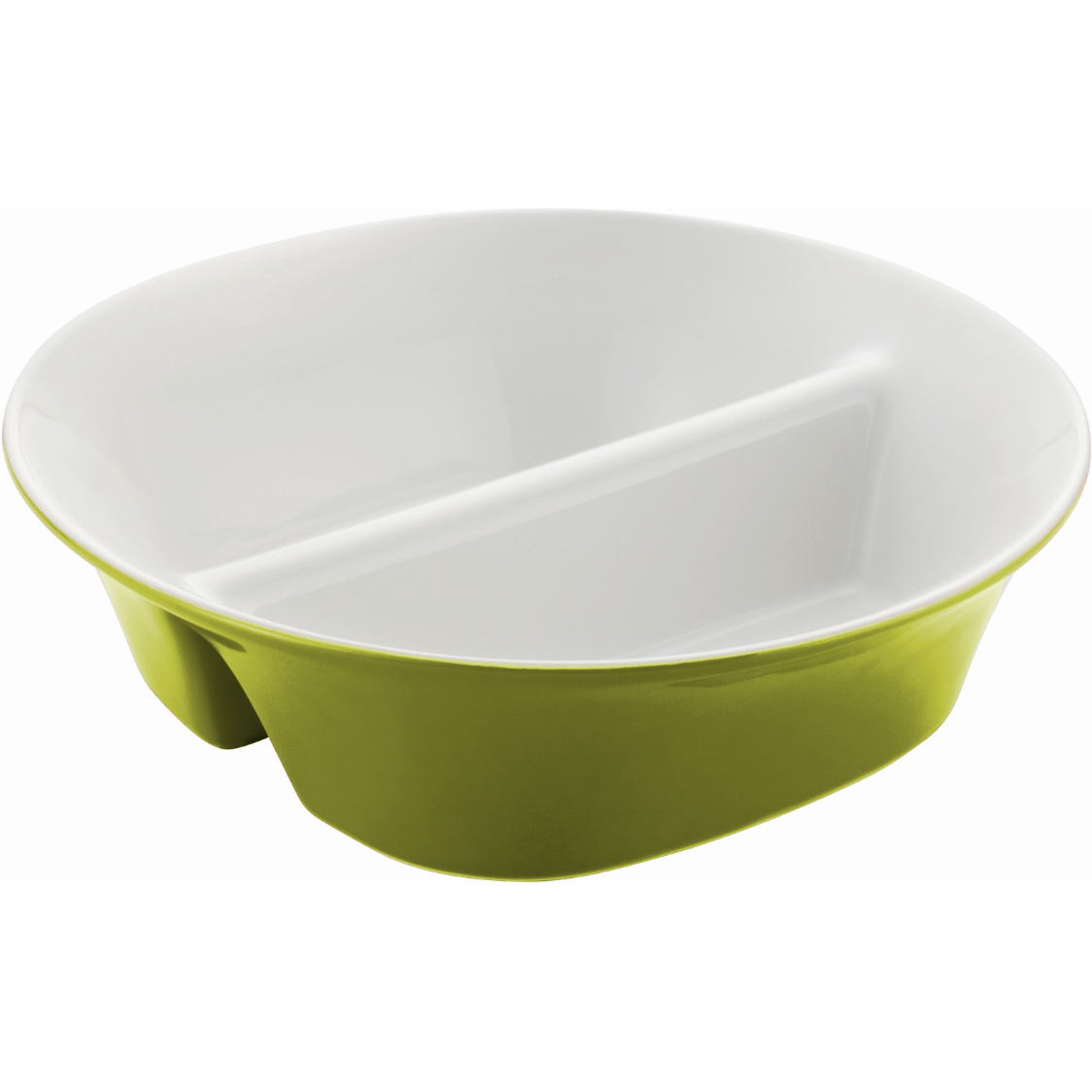 Rachael Ray Round and Square Collection Green Stoneware Divided Serving Dish, 12 Inch