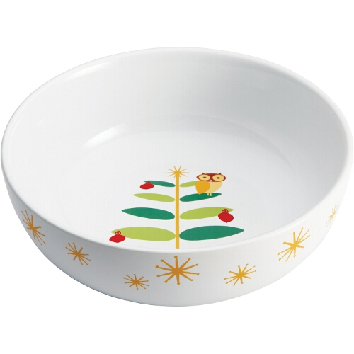 Rachael Ray Stoneware Holiday Hoot Round Serving Bowl, 10 Inch