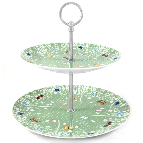 Ashdene Tranquil Butterfly Sage Bone China Two-Tier Cake Stand