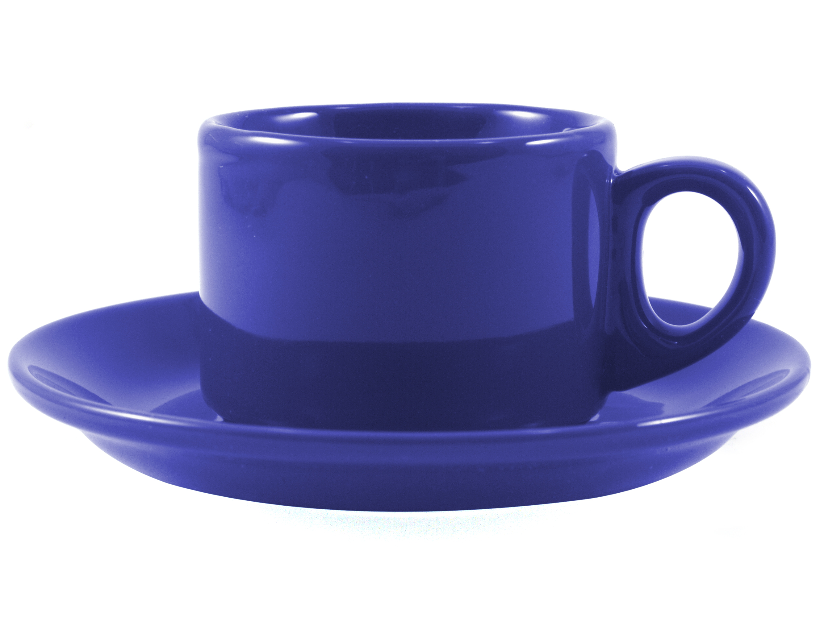 Omniware Espresso Coffee Delight Blue Stoneware Mug and Saucer Service for 2