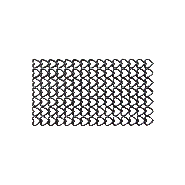 Entryways Hearts Black Recycled Rubber Doormat