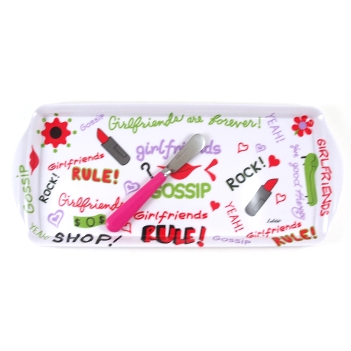 Lolita Melamine Love My Party Girlfriends Rule Hostess Tray and Spreader Set, 15 x 6.5 Inch