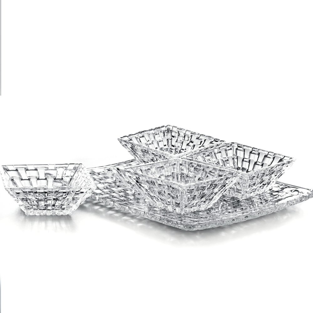 Nachtmann Dancing Stars Bossa Nova 5 Piece Non-Leaded Crystal Square Condiment Plate and Bowl Set