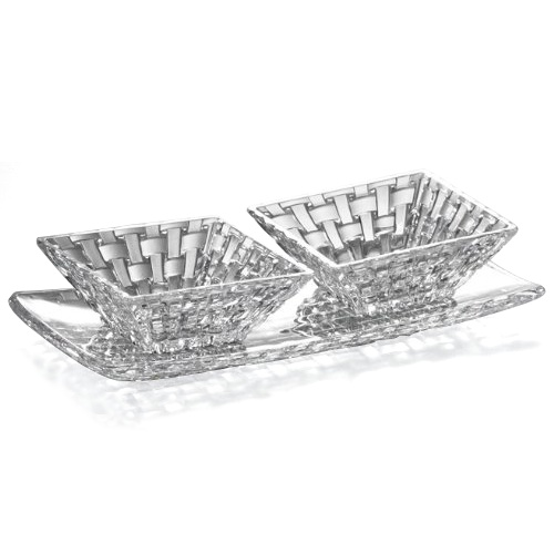 Nachtmann Dancing Stars Bossa Nova Leaded Crystal Rectangular Plate with 2 Square Condiment Bowls