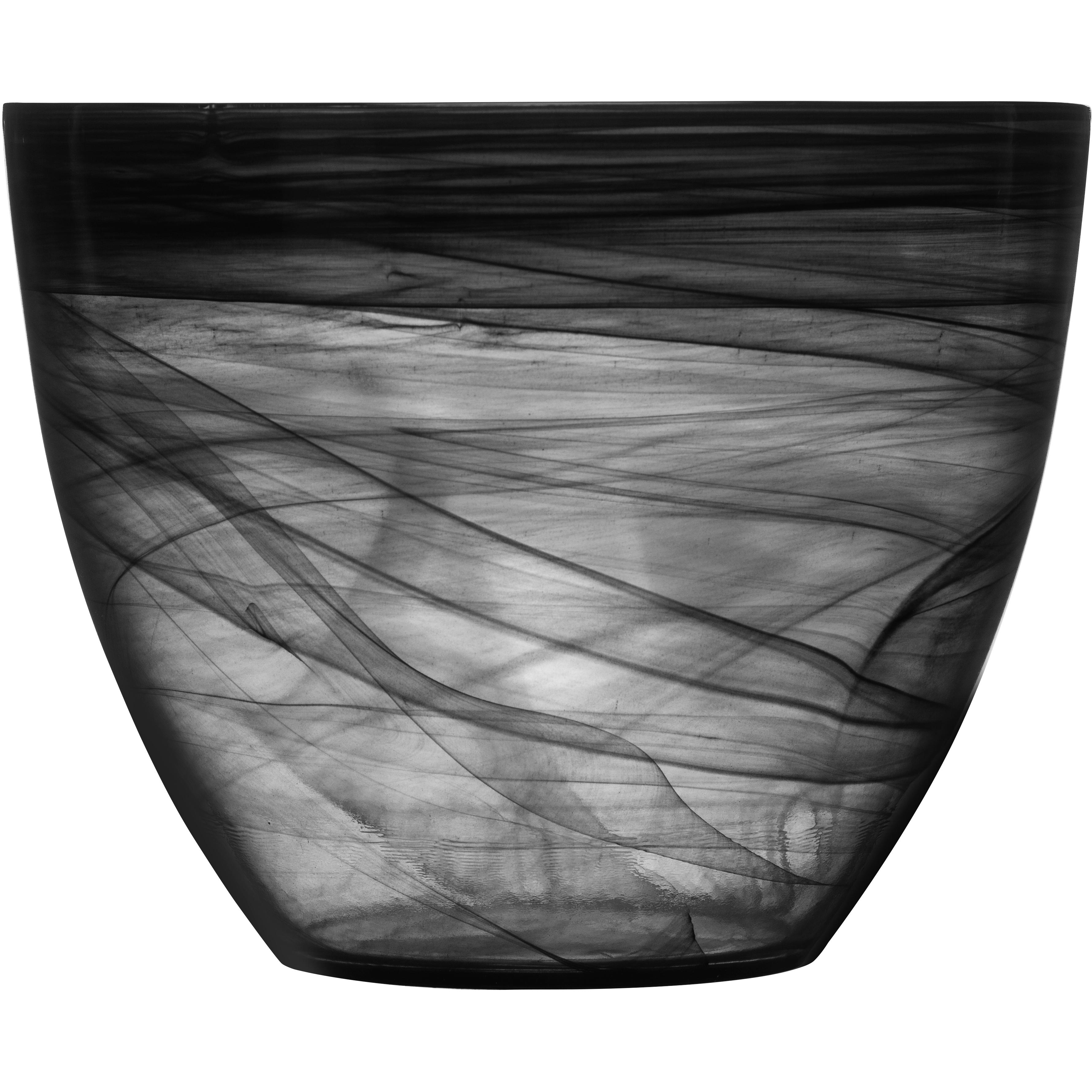 SEAglasbruk Black and White Large Black Glass Bowl