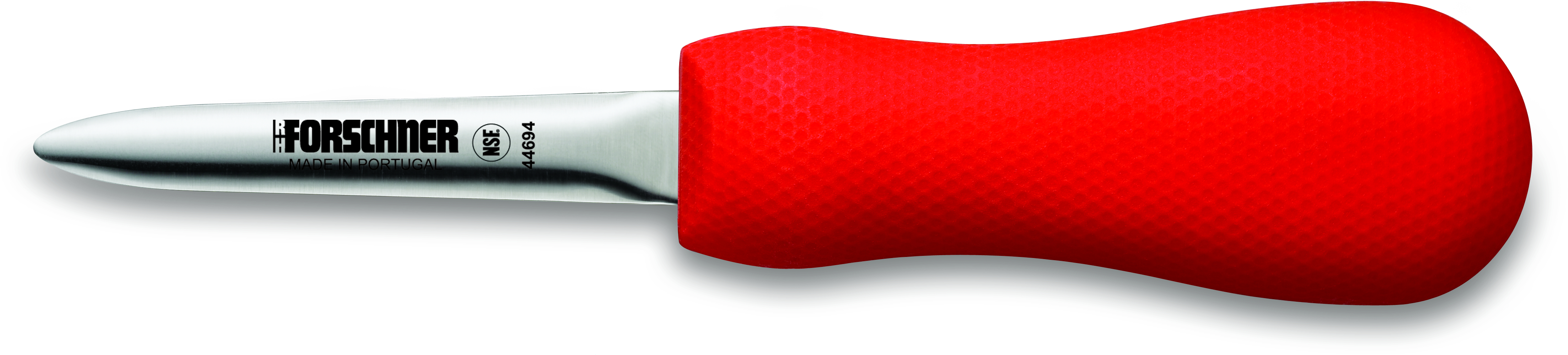 Victorinox Forschner Narrow Boston Style High Carbon Steel Oyster Knife with Red Supergrip Handle, 3 Inch