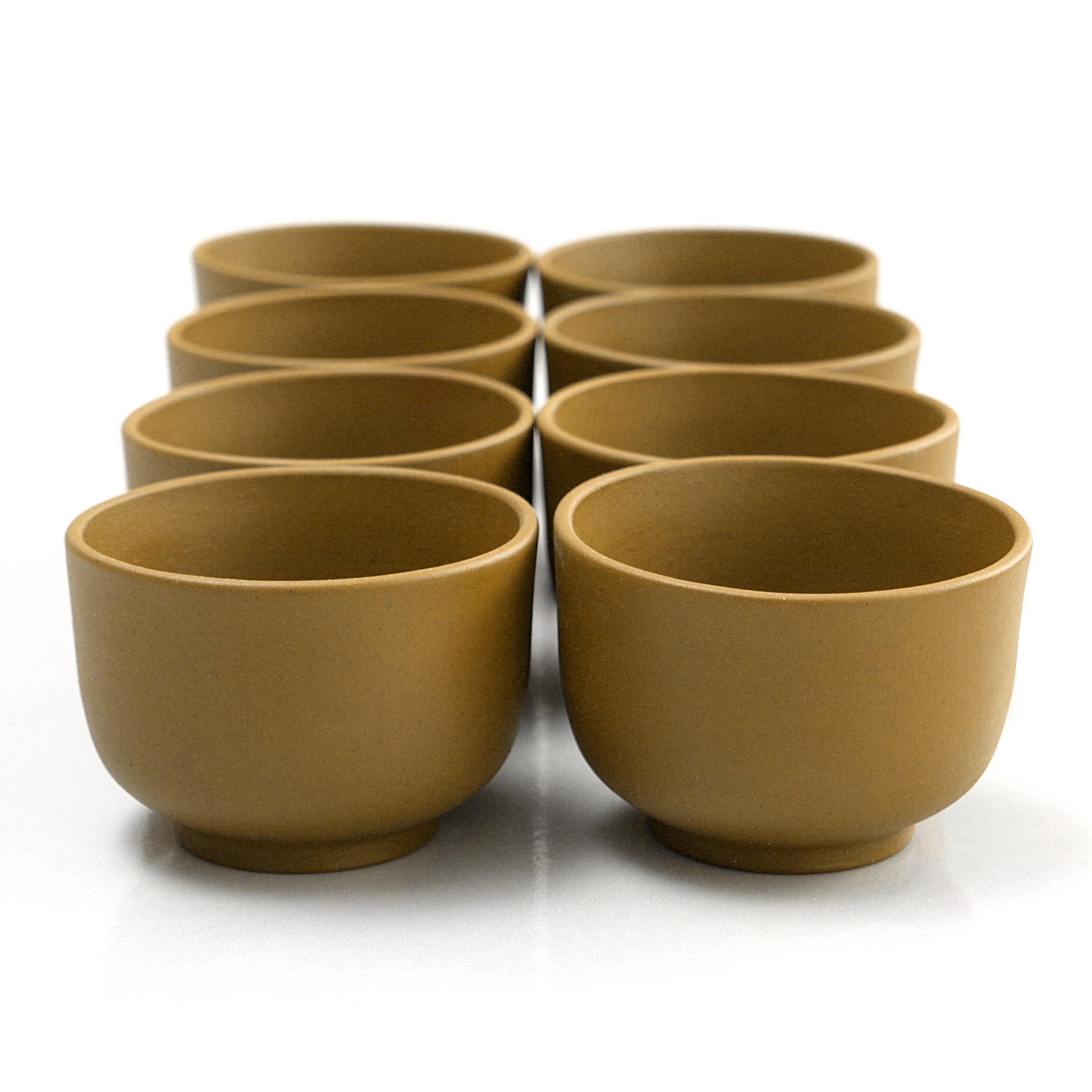 Dark Mustard Yixing 3 Ounce Teacup, Set of 8