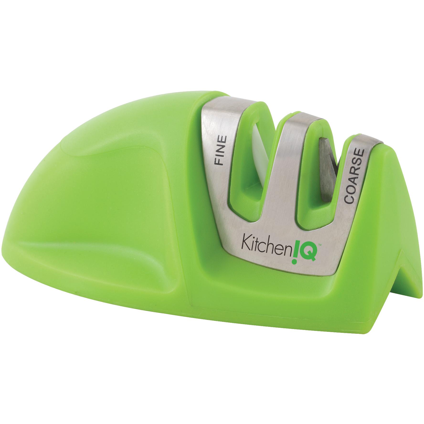 Smith's KitchenIQ Manual Green Edge Grip 2 Stage Knife Sharpener