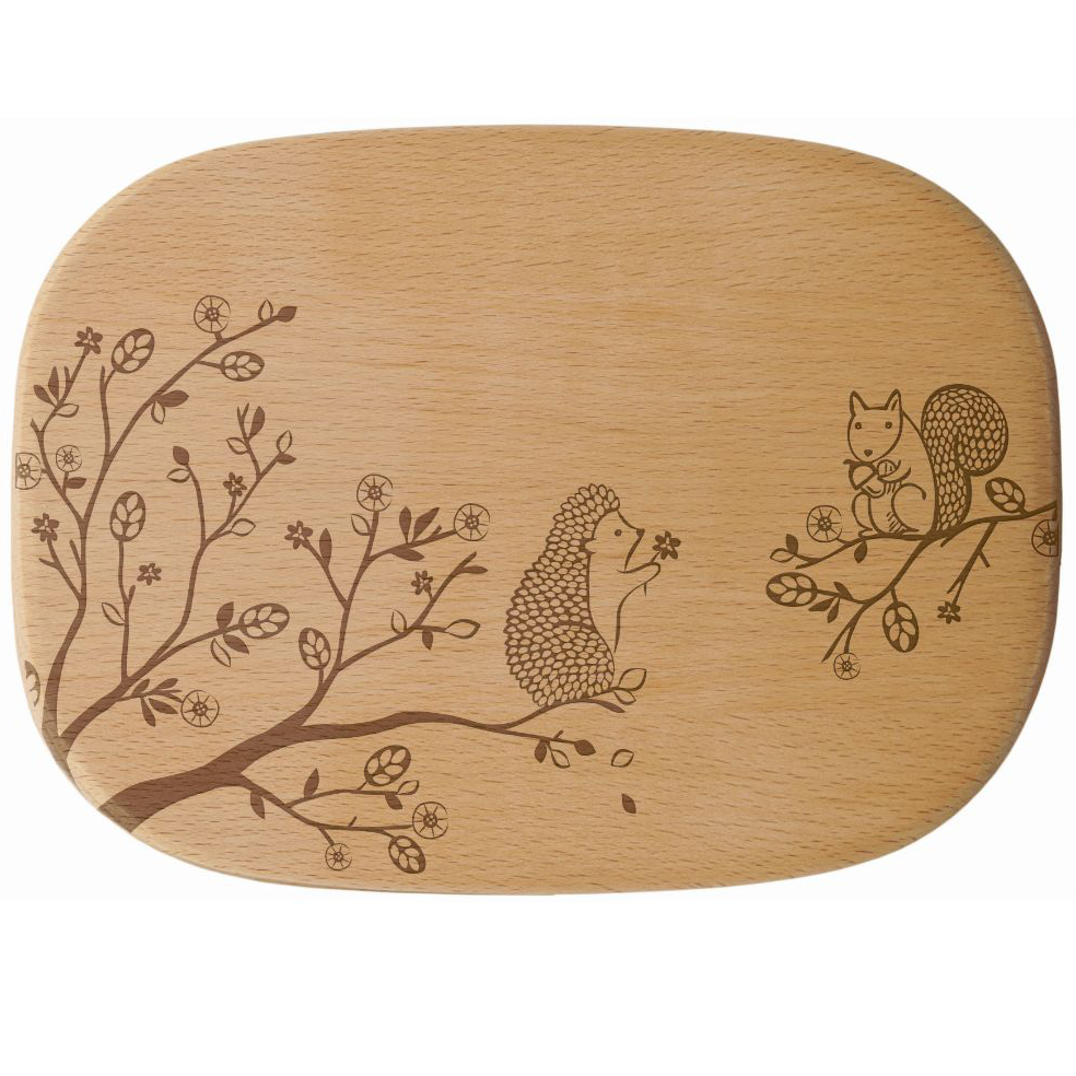 Talisman Designs Get Real Woodland Squirrel Beechwood Cheese Board, 9.33 x 6.95 Inch