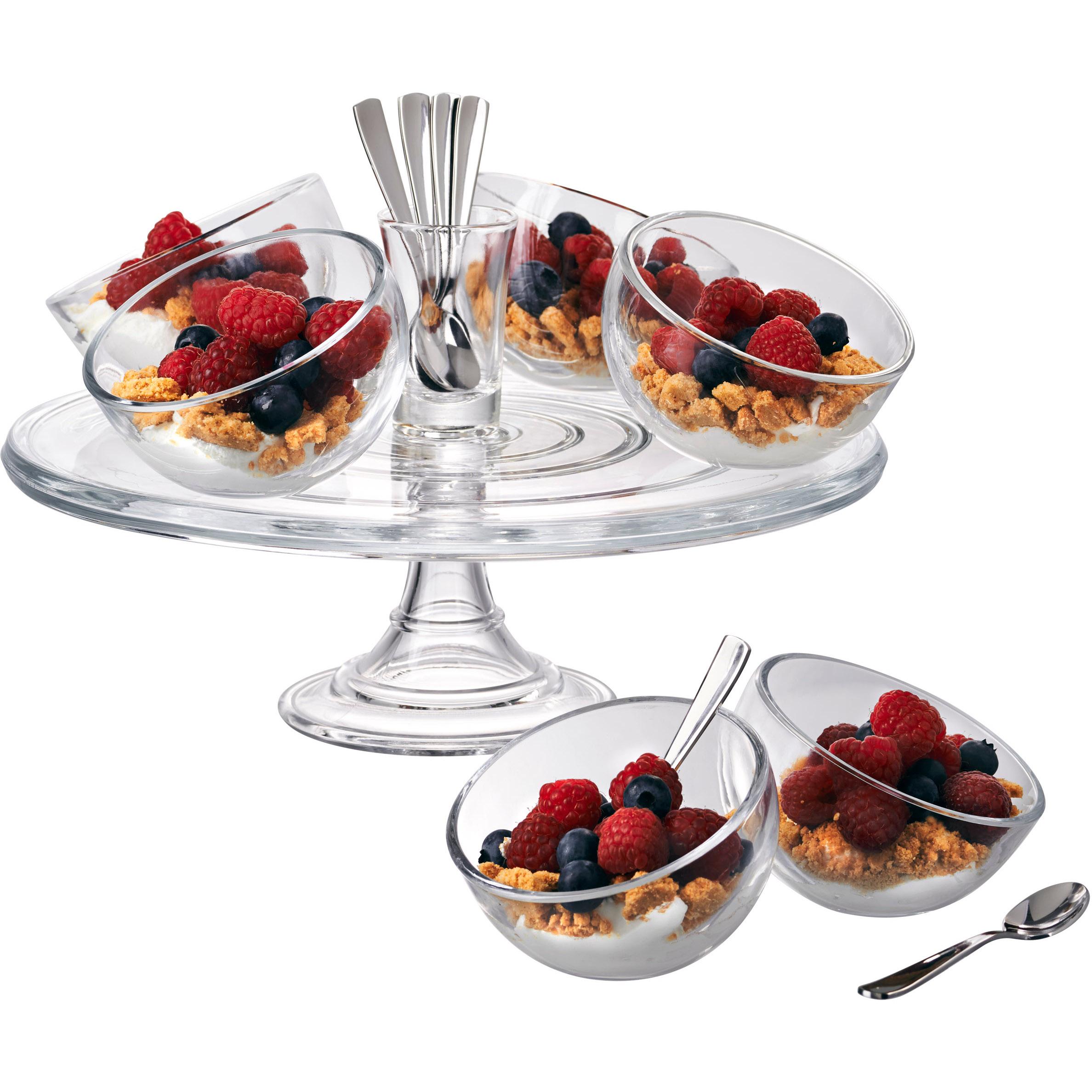 Artland Orbit 15 Piece Glass and Stainless Steel Dessert Set