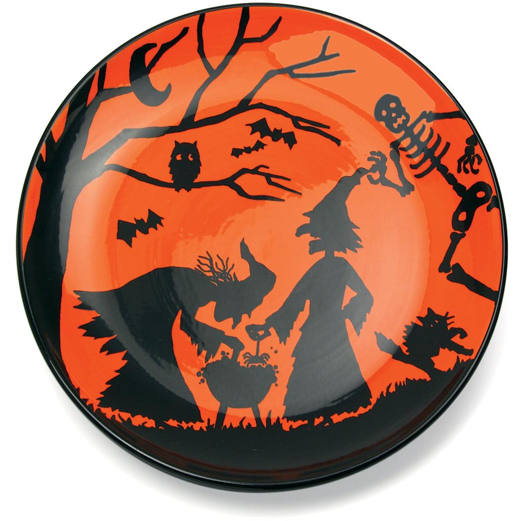 Omniware Orange and Black Halloween Potion No. 9 Earthenware Platter, 12 Inch