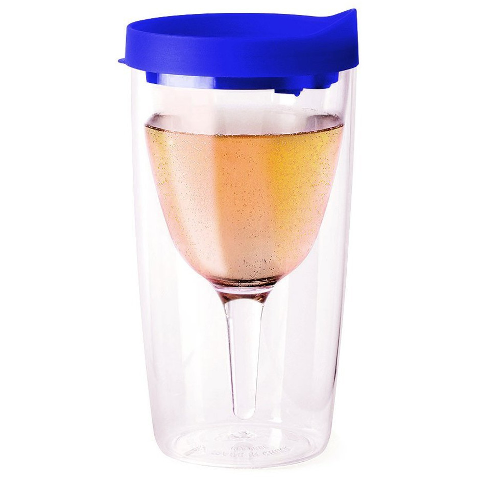 Vino2Go Blue Acrylic Insulated Wine Tumbler with Slide Lid, 10 Ounce