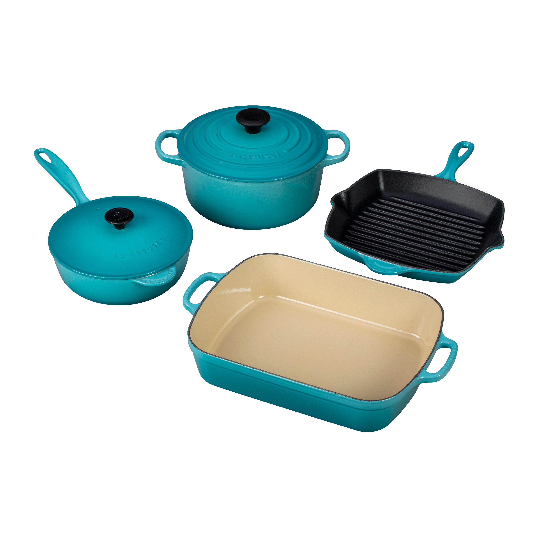 Le Creuset 6 Piece Signature Caribbean Enameled Cast Iron Cookware Set