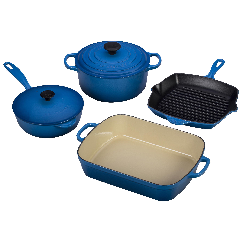 Le Creuset 6 Piece Signature Marseille Blue Cast Iron Cookware Set