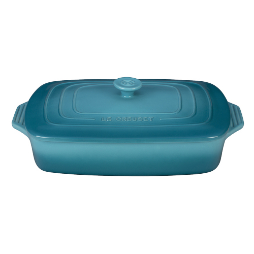 Le Creuset Caribbean Stoneware Covered Rectangular Casserole Dish, 3.5 Quart