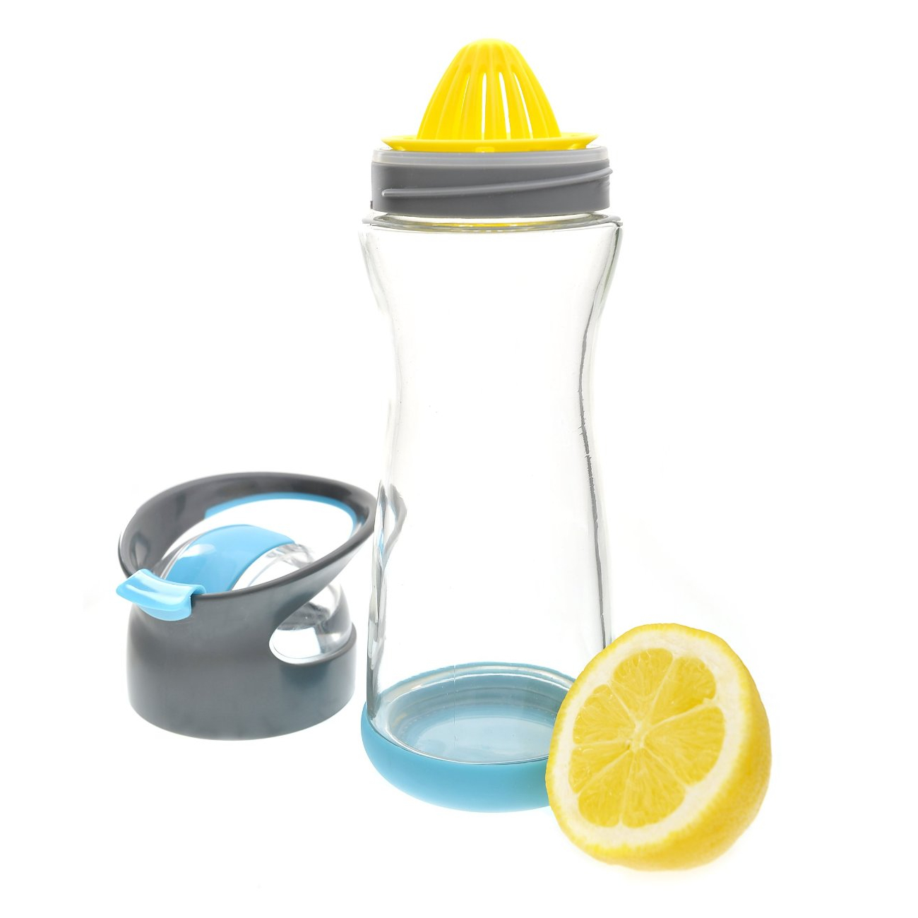 Full Circle Lemon On-the-Go Blueberry Glass Water Bottle, 20 Ounce