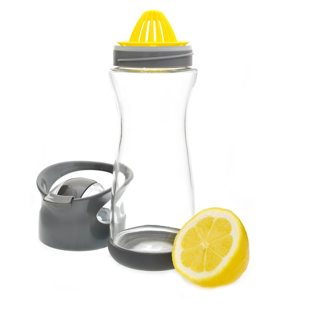 Full Circle Lemon On-the-Go Blackberry Glass Water Bottle, 20 Ounce
