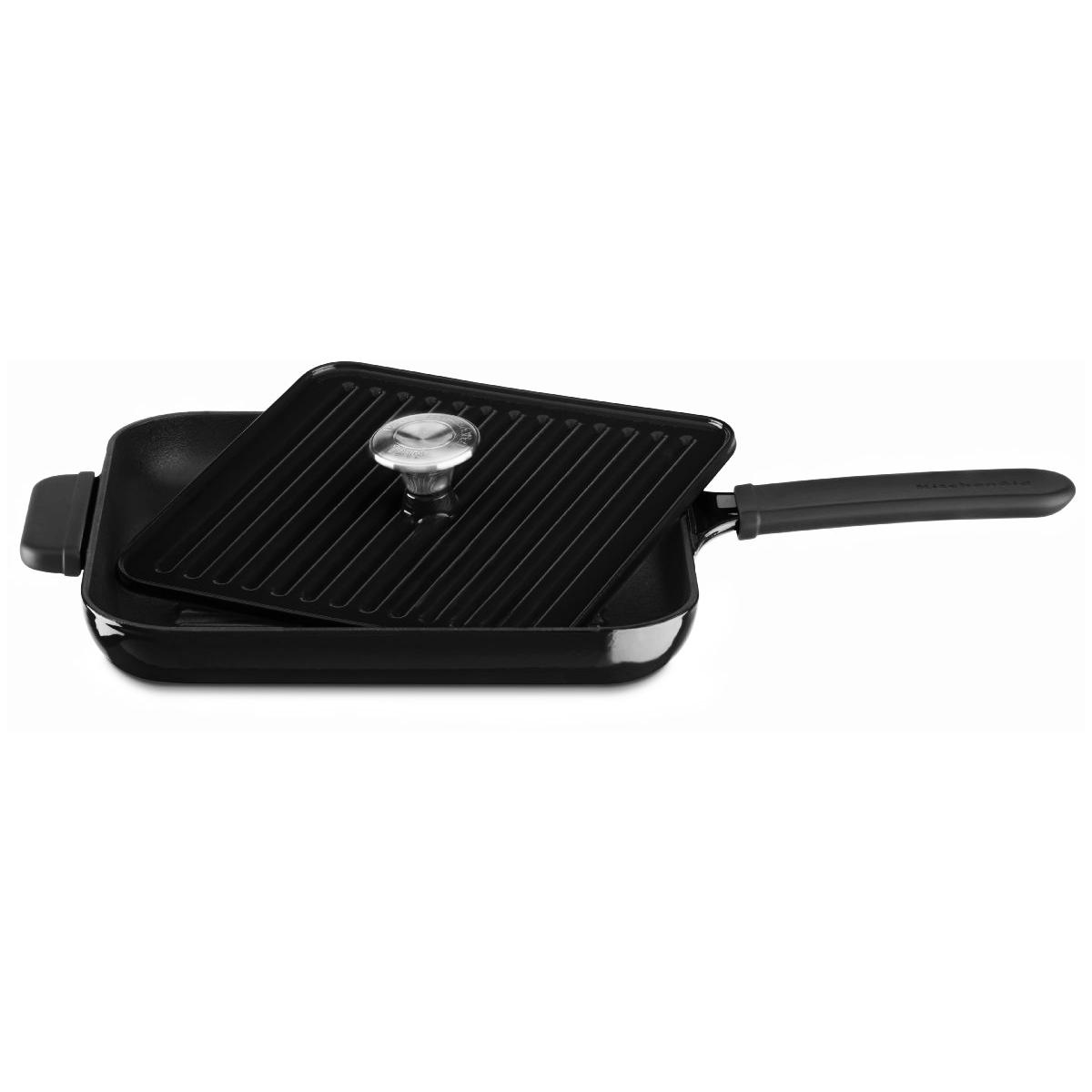KitchenAid KCI10GPOB Black Onyx Cast Iron Grill Pan and Panini Press