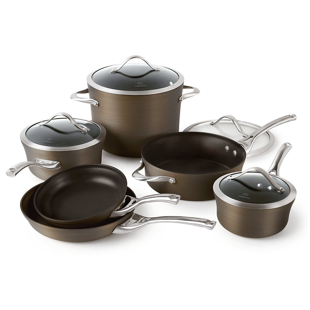 Calphalon contemporary bronze nonstick cookware set, 10 piece.