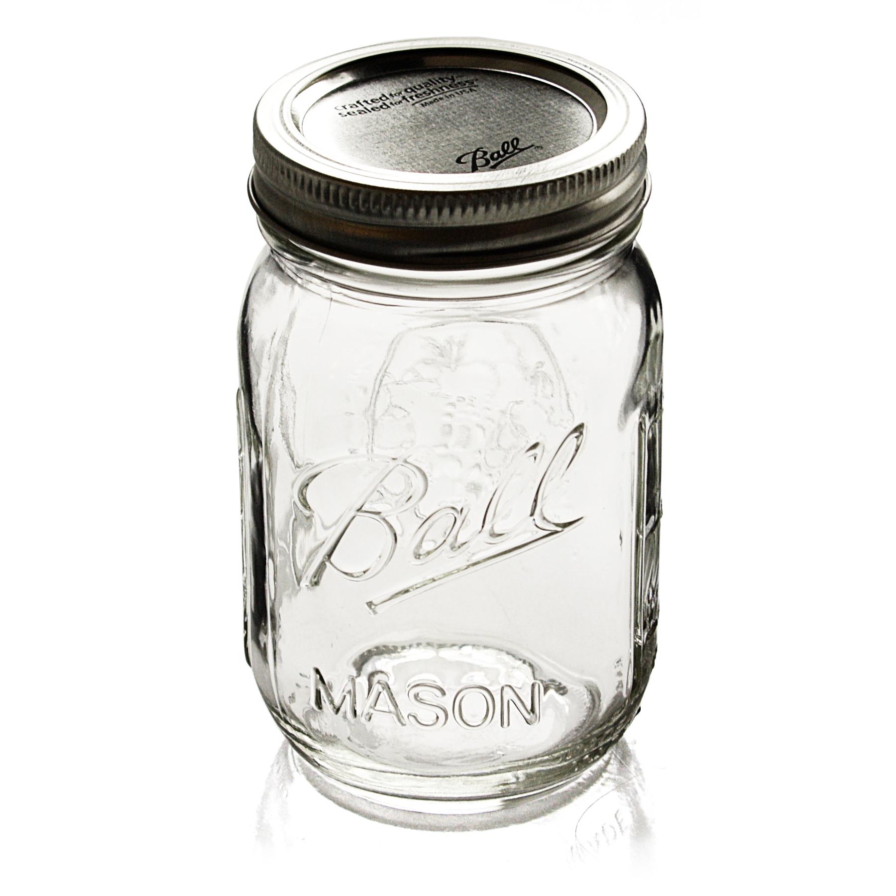 Ball Glass 16 Ounce Mason Jar With Steel Lid, Set of 12